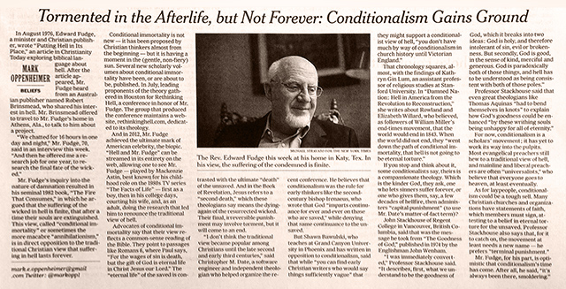 New York Times: Conditionalism Gains Ground